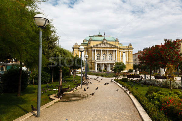 Kasalisni Park and Theater Building with Pillars in Rijeka, Croa Stock photo © anshar