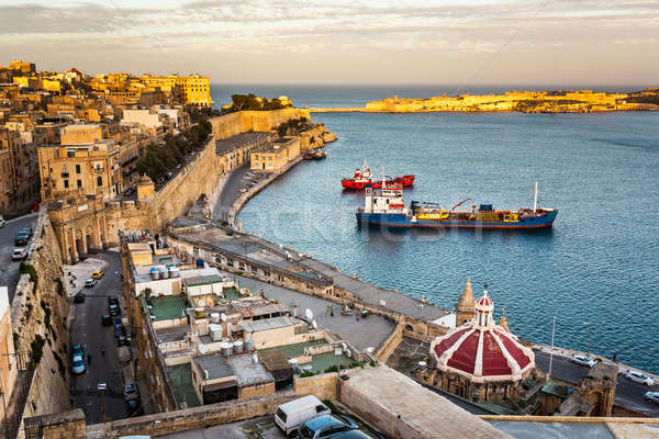 Aerial View on Valletta and Grand Harbour from Barrakka Gerdens, Stock photo © anshar