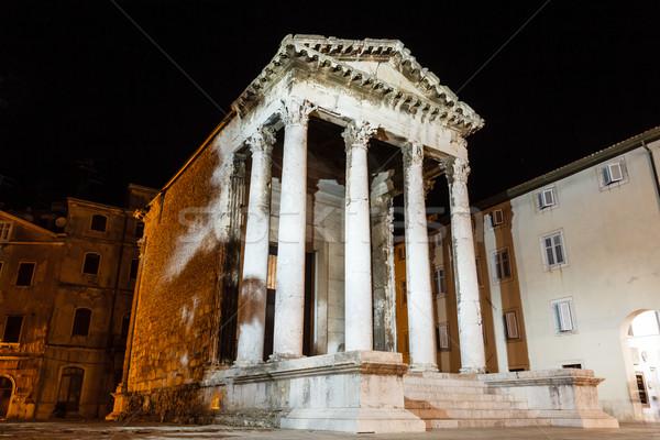 Ancient Roman Temple of Augustus in Pula at Night, Croatia Stock photo © anshar