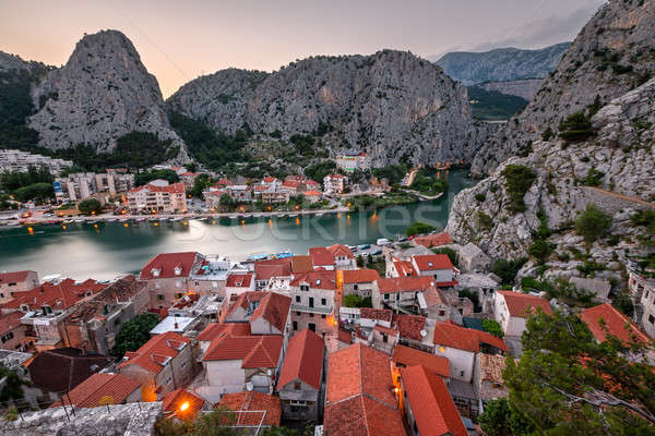 Aerial View on Omis and Cetina River Gorge in the Evening, Dalma Stock photo © anshar
