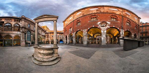 Panorama of Palazzo della Ragione and Piazza dei Mercanti in the Stock photo © anshar
