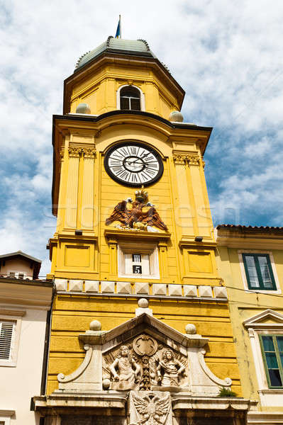 Yellow Clock Tower with Relief in Rijeka, Croatia Stock photo © anshar
