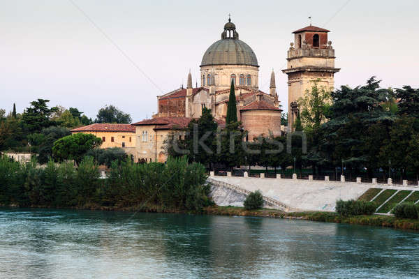 Saint George's Church on Adige River Bank in Verona, Veneto, Ita Stock photo © anshar
