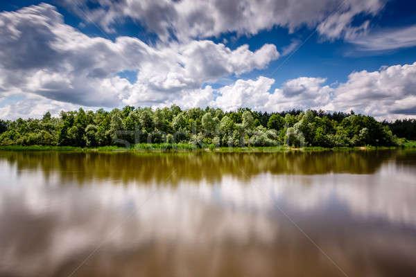 Stripe foresta nuvoloso cielo fiume Mosca Foto d'archivio © anshar