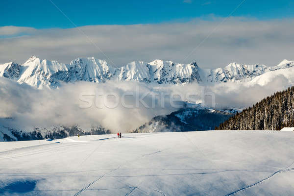 Panoramic View on Mountains and Two People Walking in French Alp Stock photo © anshar
