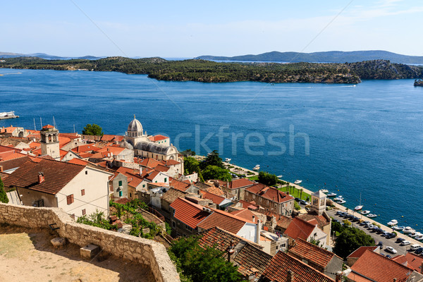 Panoramic View of Sibenik and Saint James Cathedral from Above,  Stock photo © anshar