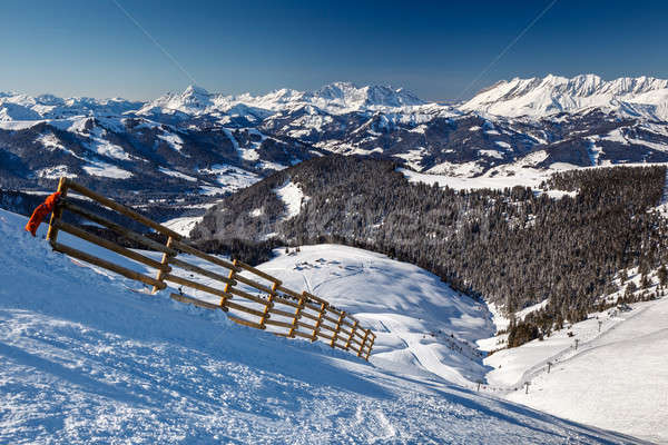 Mountain Peak and Ski Slope near Megeve in French Alps, France Stock photo © anshar