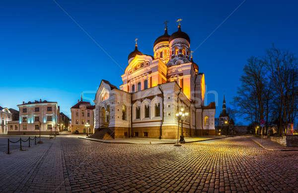 Panorama katedral akşam Tallinn Estonya Bina Stok fotoğraf © anshar