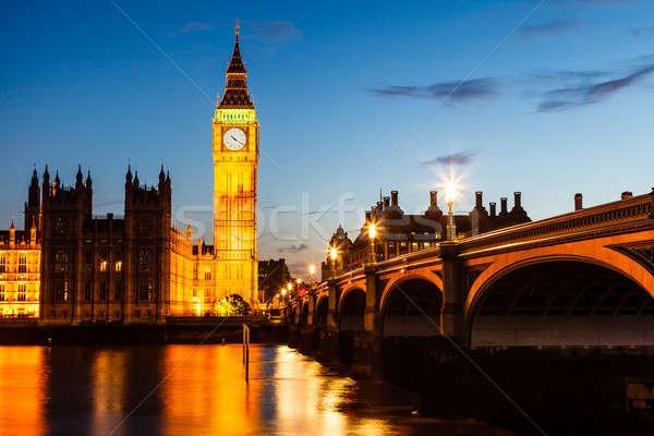 Big Ben ev parlamento gece Londra Büyük Britanya Stok fotoğraf © anshar