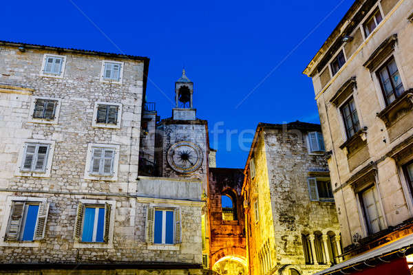 Clock Tower and Iron Gate in Split at Night, Croatia Stock photo © anshar
