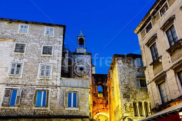 Clock Tower and Iron Gate in Split at Night, Croatia Stock photo © anshar