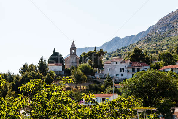 Small Church and the Bell Tower on the Hill near Split, Croatia Stock photo © anshar