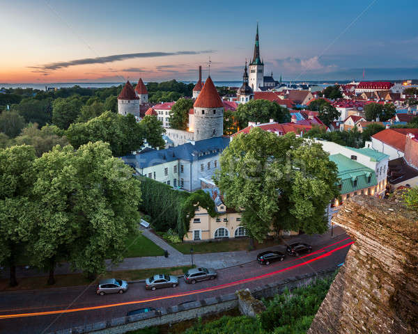 Aerial View of Tallinn Old Town from Toompea Hill in the Evening Stock photo © anshar