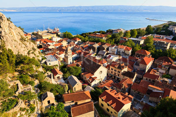 Panorama of Old Pirate Town Omis and Holy Spirit Church, Croatia Stock photo © anshar