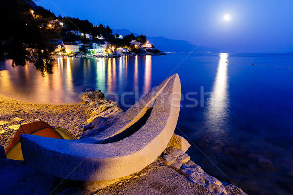 White Boat on the Beach and Transparent Mediterranean Sea in the Stock photo © anshar
