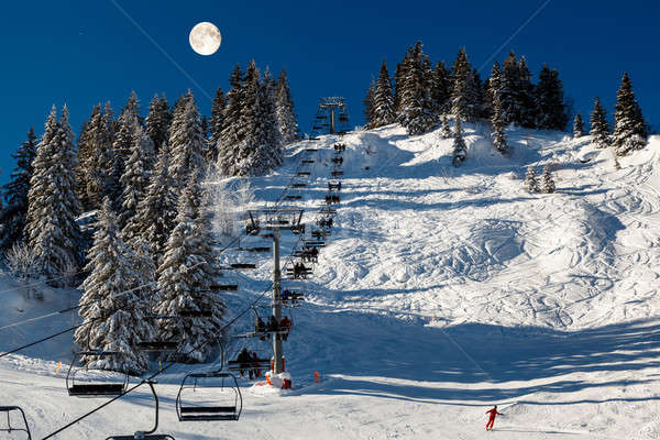 Full Moon above Riding Chairlift in French Alps Mountains, Megev Stock photo © anshar