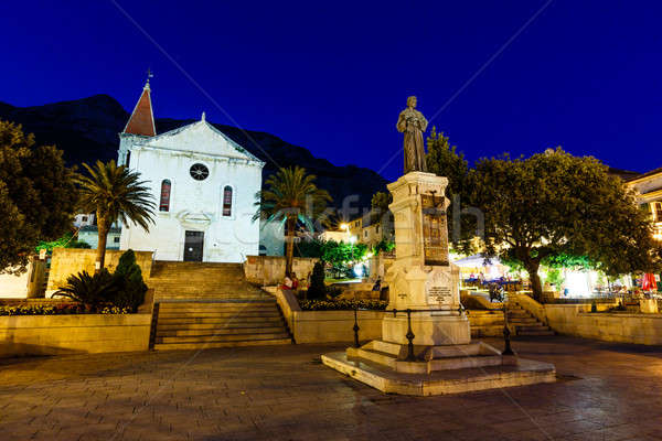 Saint Mark Cathedral in Makarska at Night, Croatia Stock photo © anshar
