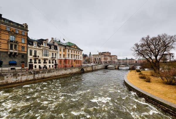 Stromgatan Street and Norrbro Bridge in Stockholm, Sweden Stock photo © anshar