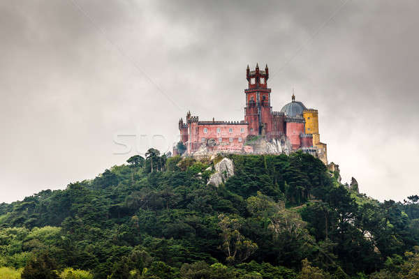 Pena Palace in Sintra near Lisbon in Rainy Weather, Portugal Stock photo © anshar