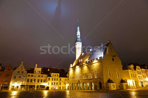 Tallinn Town Hall at Night Casting Shadow in the Sky, Estonia Stock photo © anshar
