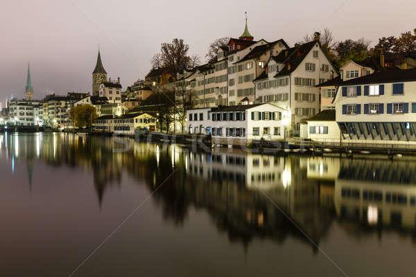 Zürih ufuk çizgisi nehir gece İsviçre şehir Stok fotoğraf © anshar