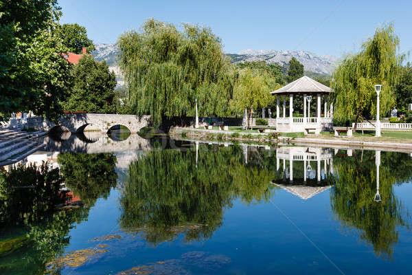 Stock photo: Picturesque Landscape, Stone Bridge, Pavilion, River and Willow,