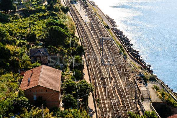 Vasútállomás falu Olaszország tenger fém kábel Stock fotó © anshar