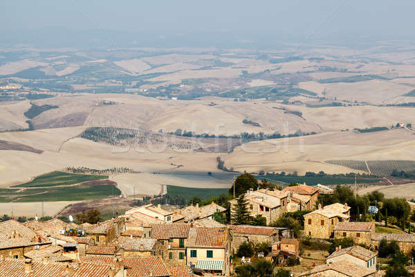 View of the Roofs and Landscape of a Small Town Montalcino in Tu Stock photo © anshar