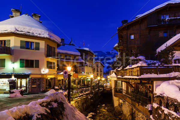 Illuminated Street of Megeve on Christmas Night, French Alps, Fr Stock photo © anshar