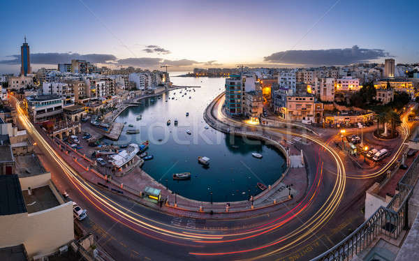Aerial View on Saint Julien and Spinola Bay at Dawn, Malta Stock photo © anshar