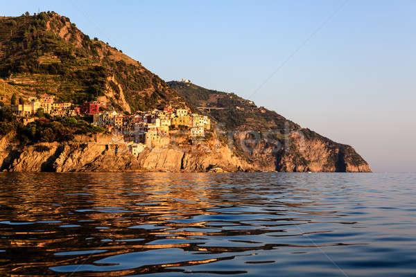 Stok fotoğraf: Gün · batımı · köy · İtalya · gökyüzü · su · Bina