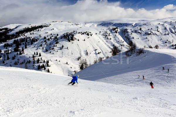Skiers in Passo Campolongo near Skiing Resort of Arabba, Dolomit Stock photo © anshar