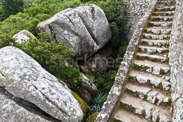 Rocks and Wall in Moorish Castle near Lisbon, Portugal Stock photo © anshar