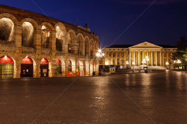 Piazza Bra and Ancient Amphitheater in Verona, Italy Stock photo © anshar