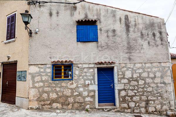 小 伝統的な 家 青 ドア クロアチア ストックフォト © anshar
