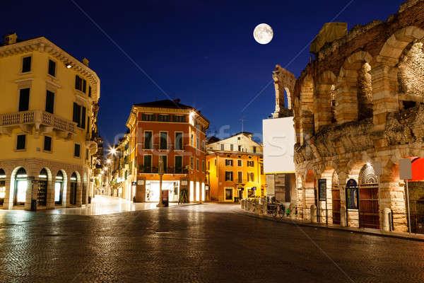 Dolunay üzerinde sutyen eski Roma amfitiyatro Stok fotoğraf © anshar