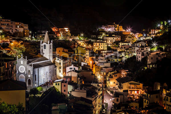 Aerial View on Illuminated Church and Riomaggiore at Night, Cinq Stock photo © anshar