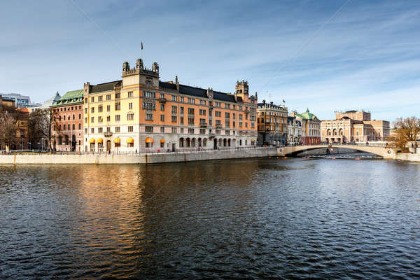 Stromgatan Embankment and Royal Opera in Stockholm, Sweden Stock photo © anshar