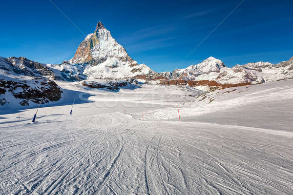 Sunny Ski Slope and Matterhorn Peak in Zermatt, Switzerland Stock photo © anshar