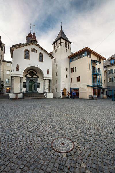 Straten oude binnenstad Zwitserland home kerk Blauw Stockfoto © anshar