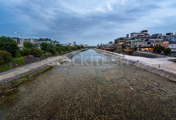 Kamo River and Kyoto in the Evening, Kyoto, Japan Stock photo © anshar