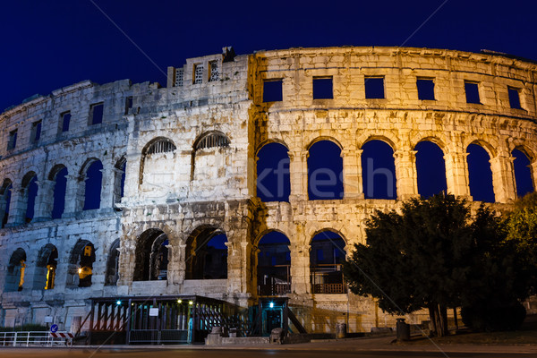 Ancient Roman Amphitheater in Pula at Night, Croatia Stock photo © anshar