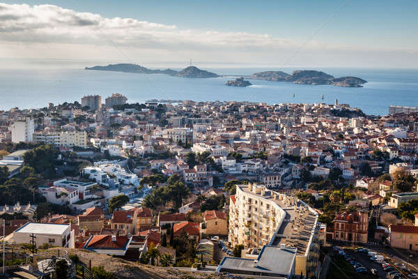 Aerial View of Marseille City and Islands in Background, France Stock photo © anshar