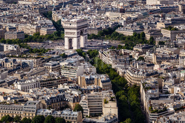 Aerial View on Arch de Triumph from the Eiffel Tower, Paris, Fra Stock photo © anshar