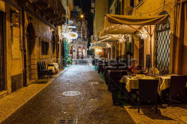 Outdoor Restaurant in the Sidewalk of Piazza Bra in Verona, Vene Stock photo © anshar