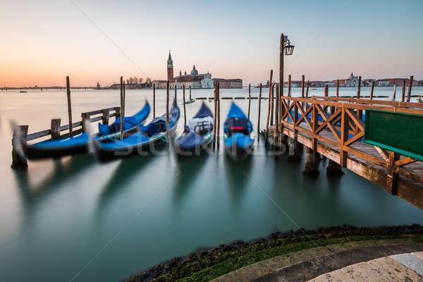 Kanal kilise şafak Venedik İtalya su Stok fotoğraf © anshar