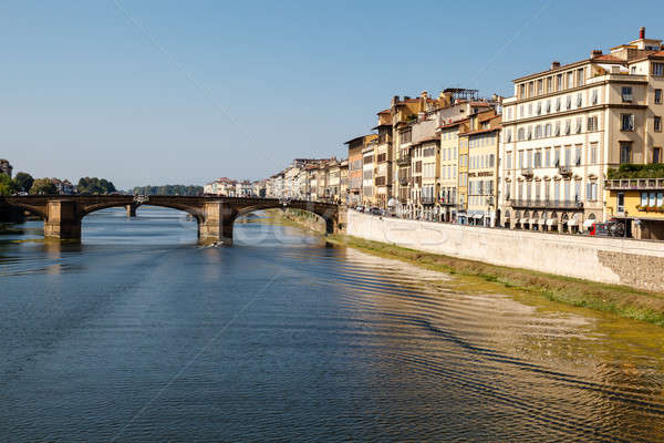 Arno River Embankment after Sunrise in Florence, Tuscany, Italy Stock photo © anshar