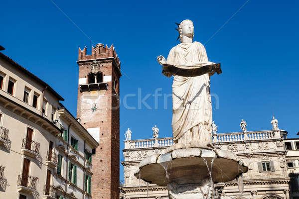Fonte estátua verona água edifício arte Foto stock © anshar