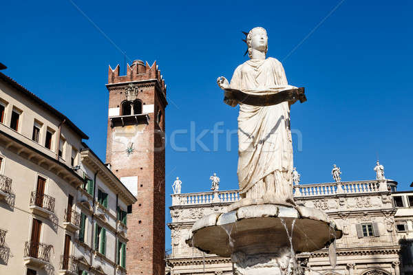 Fountain and Statue of Madonna on Piazza delle Erbe in Verona, V Stock photo © anshar