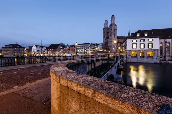 View on Grossmunster Church and Munsterbrucke Bridge in the Even Stock photo © anshar
